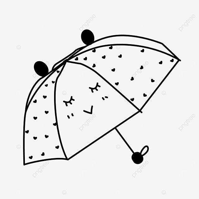 cartoon animal expression umbrella clipart black and white