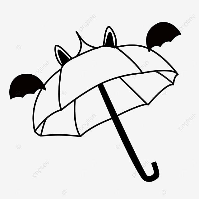 cartoon bat wings daily necessities umbrella clipart black and white