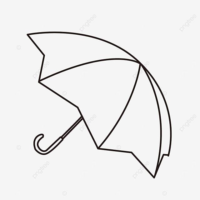 curved line pattern rain shield umbrella clipart black and white