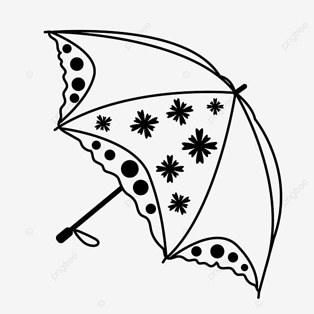 daily necessities polka dot pattern umbrella clipart black and white