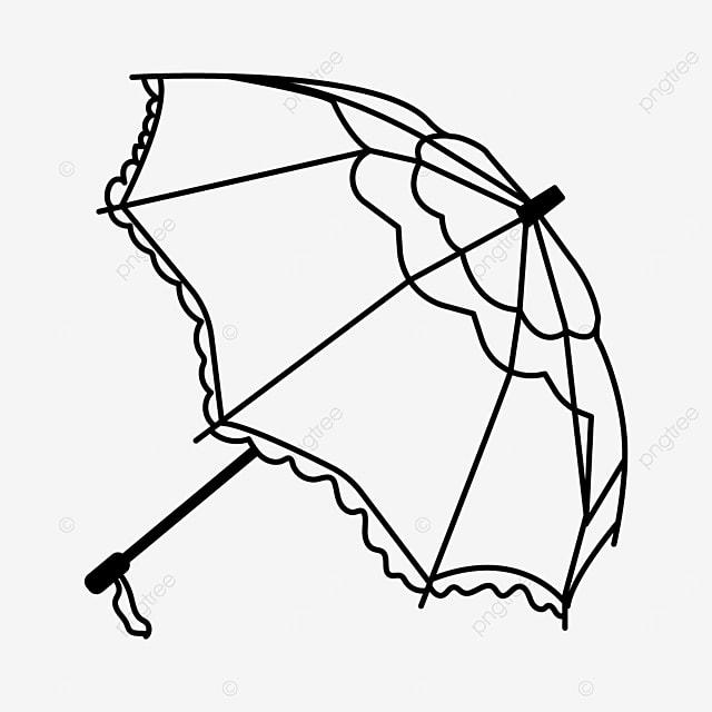 geometric curve lineart umbrella clipart black and white