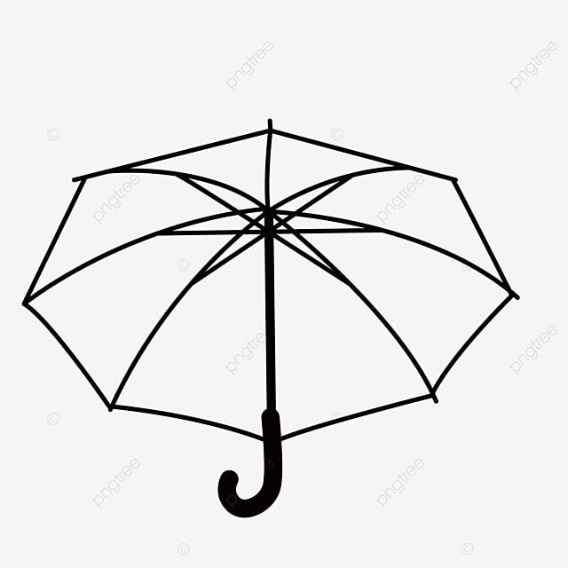 linear draft open open rainproof umbrella umbrella clipart black and white