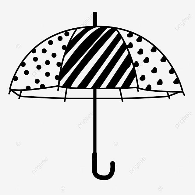 polka dot stripe pattern umbrella clipart black and white