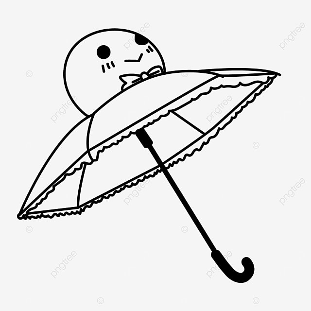 sunny day doll cartoon umbrella clipart black and white
