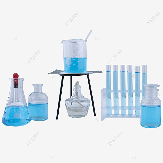 a set of glass instruments containing blue liquid