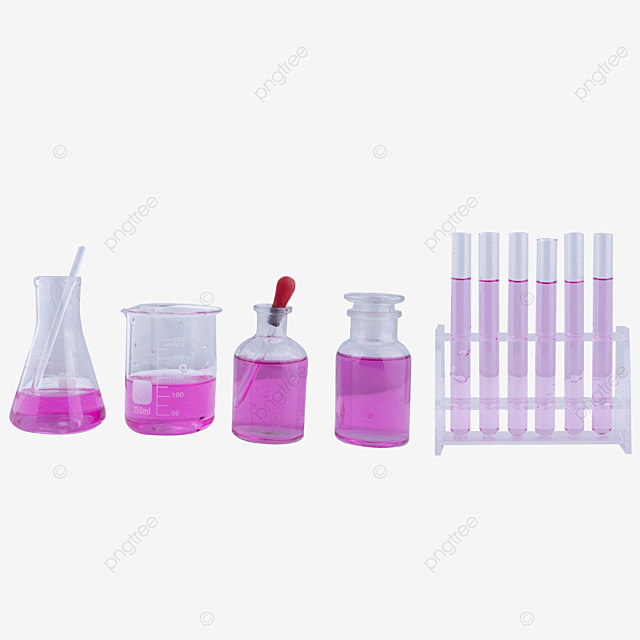 a set of glass instruments containing purple liquid