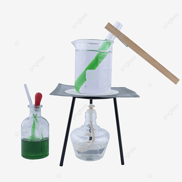 instrument combination of jar and test tube of green potion