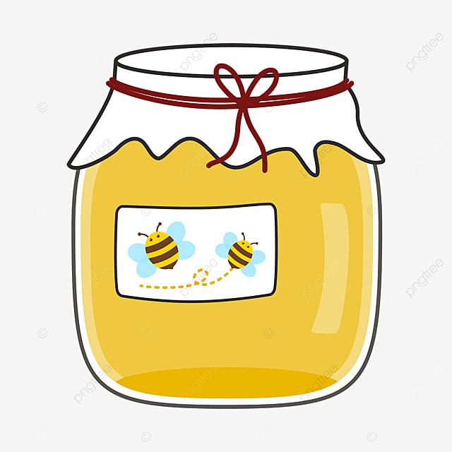 cartoon cute glass jar of honey clipart