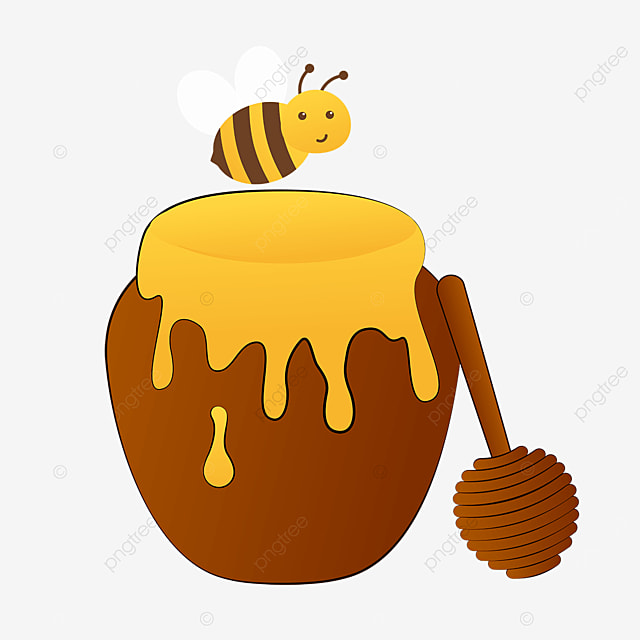 honey clipart cartoon bee collecting nectar