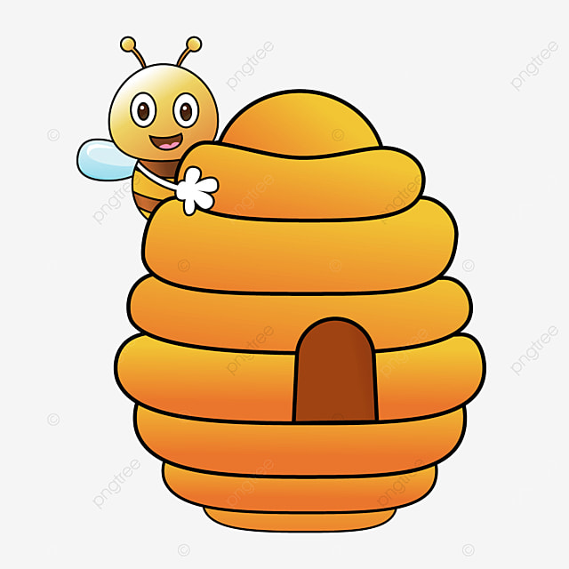 cute bee with beehive clipart