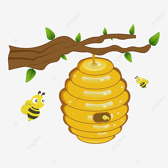 honeycomb beehive hanging from a branch clipart