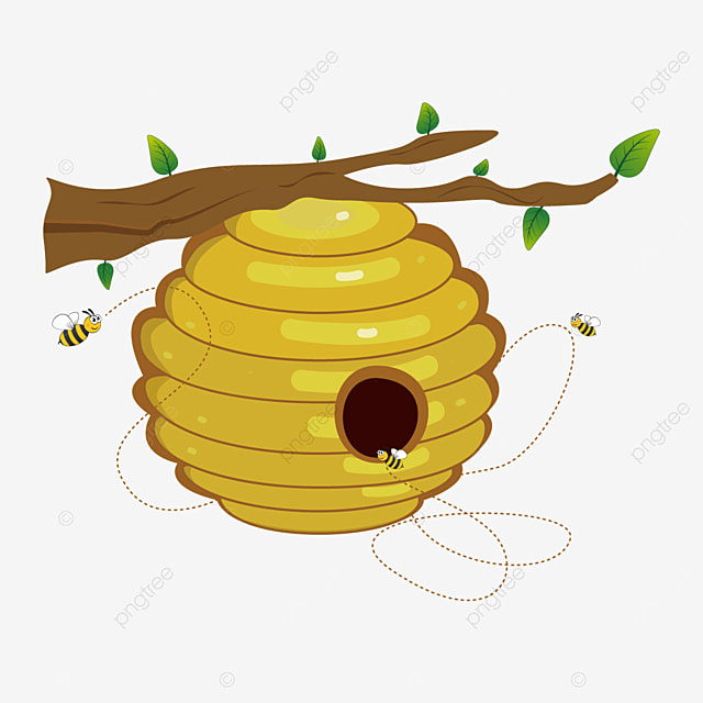 wild beehive beehive on branch clipart