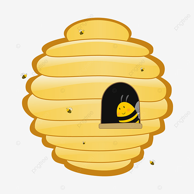 yellow cute beehive clipart
