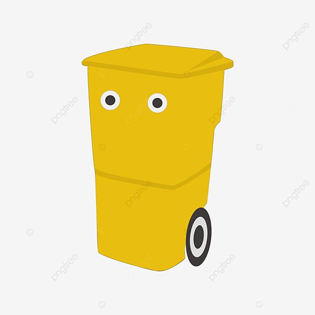 yellow trash bin clipart