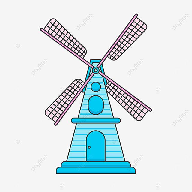 blue pink windmill clipart