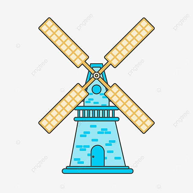 blue yellow windmill clip art