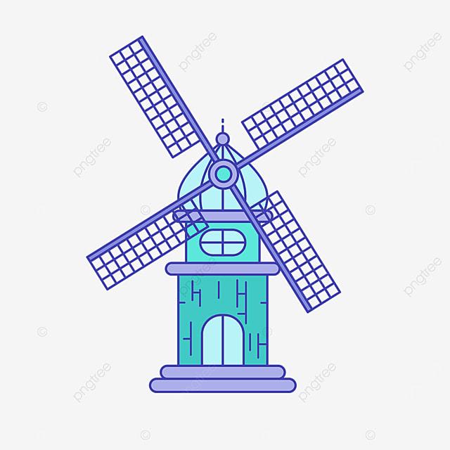green cute windmill clipart