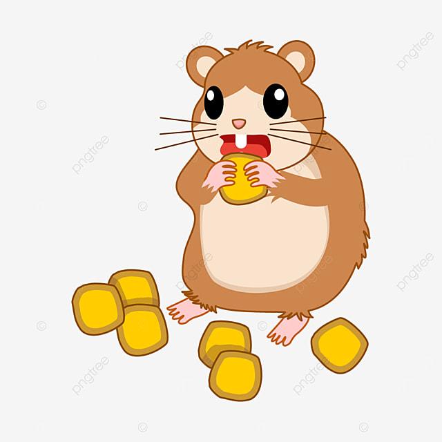 hamster eating corn kernels clipart