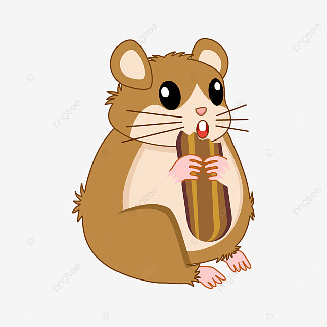 hamster eating long biscuit clipart