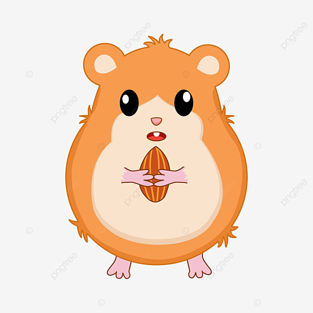 hamster holding almond diced clipart