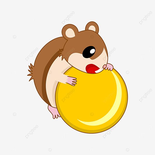 hamster lying on yellow ball clipart