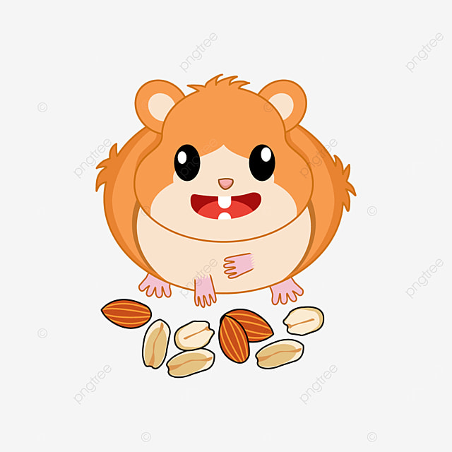 little hamster eating nuts clipart