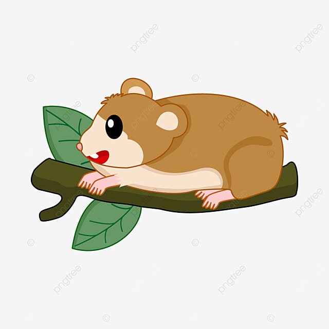 little hamster lying on a branch clipart