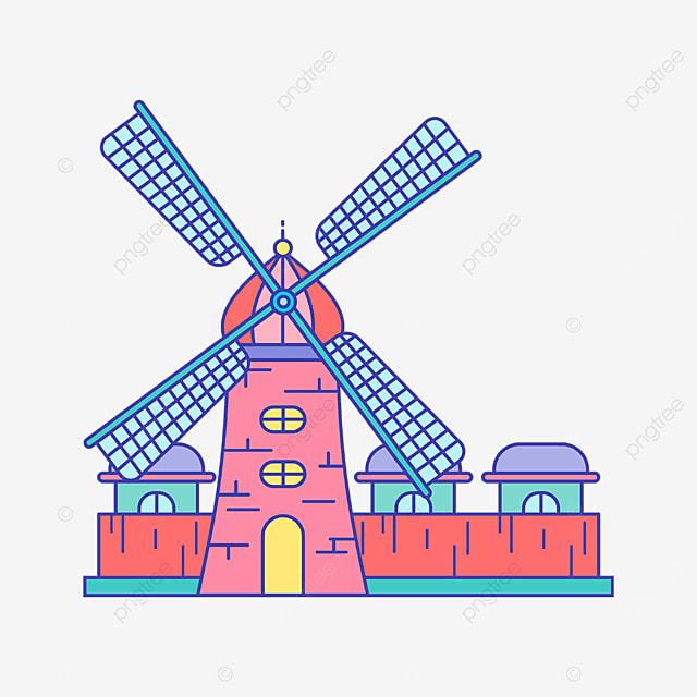 pink cute windmill clipart