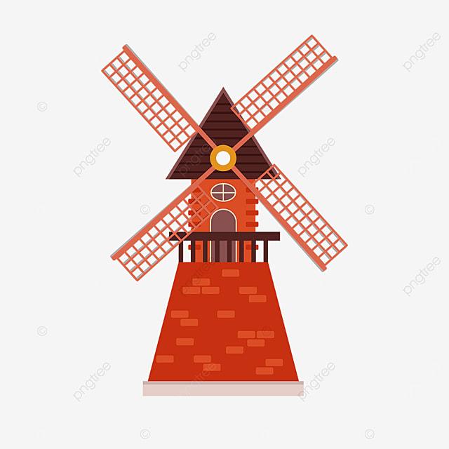 red brick windmill clip art