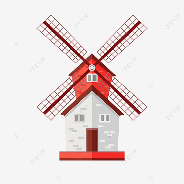 red spire windmill clip art