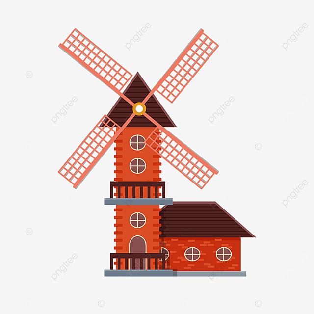 retro brick windmill clipart