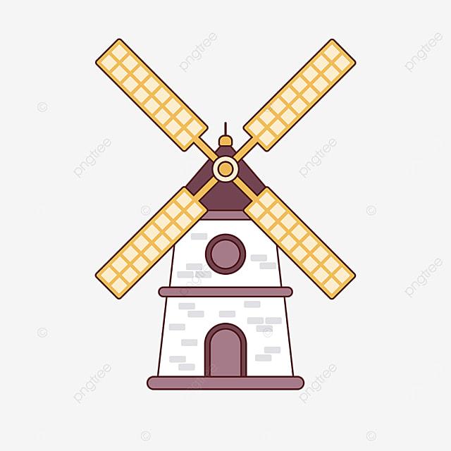 yellow cute windmill clipart