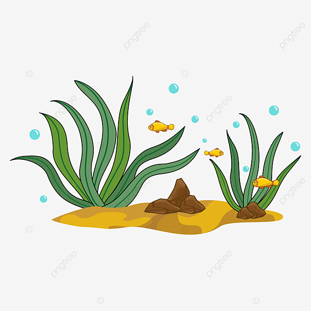 yellow fish and green seaweed clipart