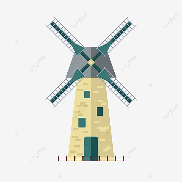 yellow green windmill clip art