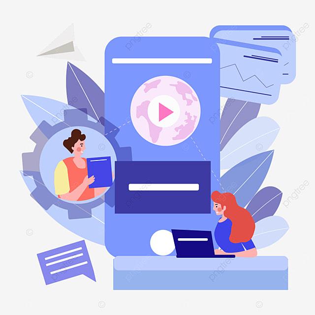 blue video online connection concept illustration