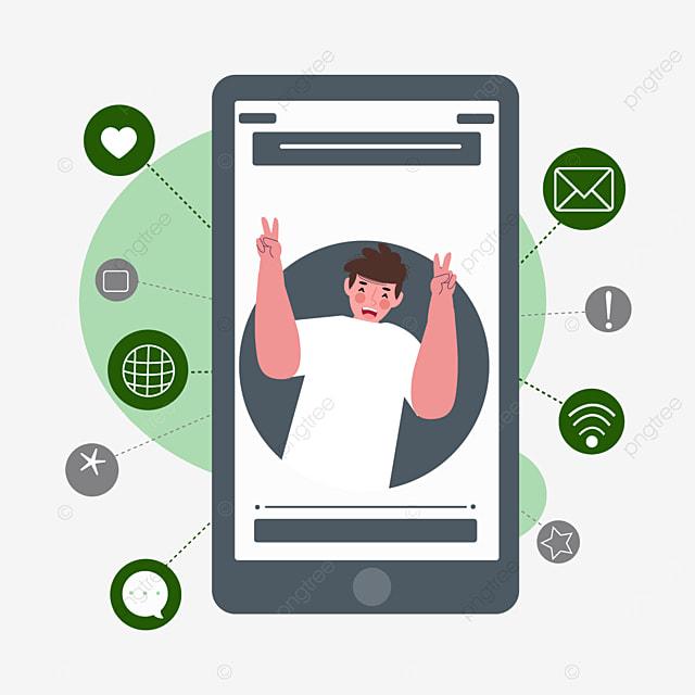 mobile phone online connection concept illustration