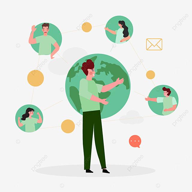 online connection conversation concept illustration