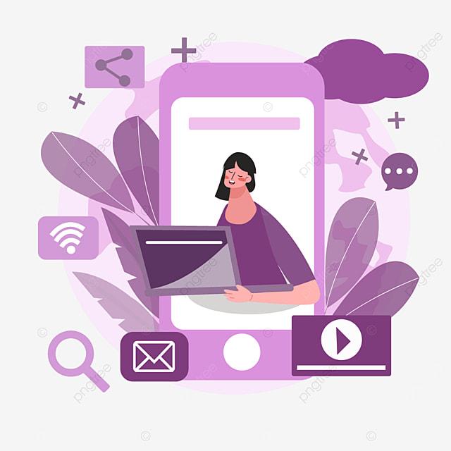 purple mobile phone online connection concept illustration