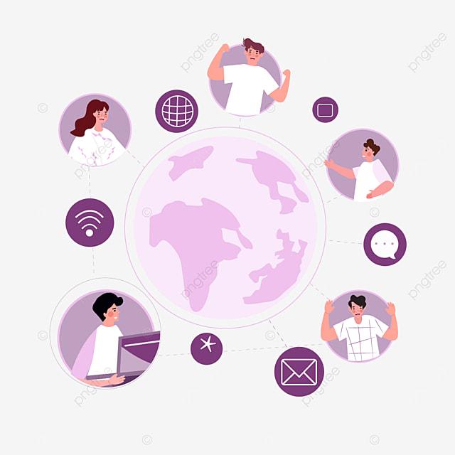 purple online connection concept illustration