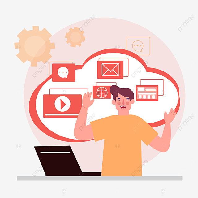 red lenovo online connection concept illustration