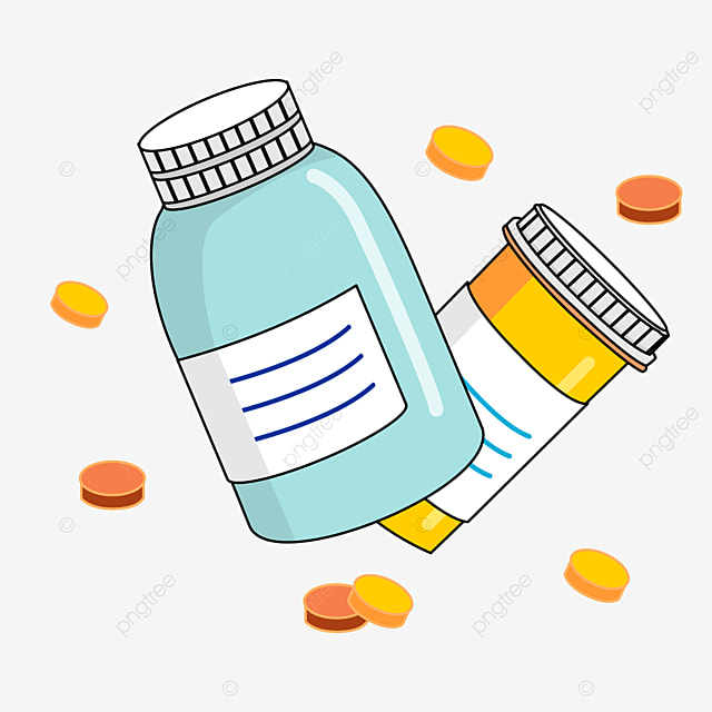 blue and yellow medicine bottle clipart