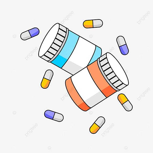 colored medicine bottles clipart