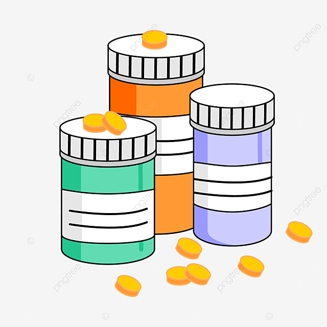 medicine bottle with pills clipart