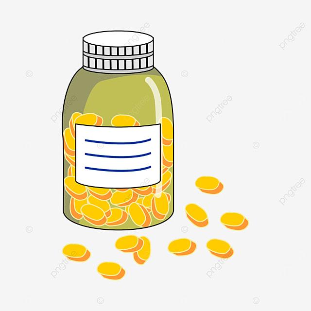 yellow pills and green medicine bottle clipart