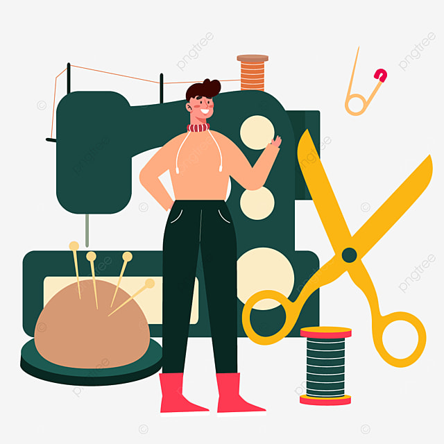 abstract green sewing machine and yellow scissors drawn fashion designer illustration