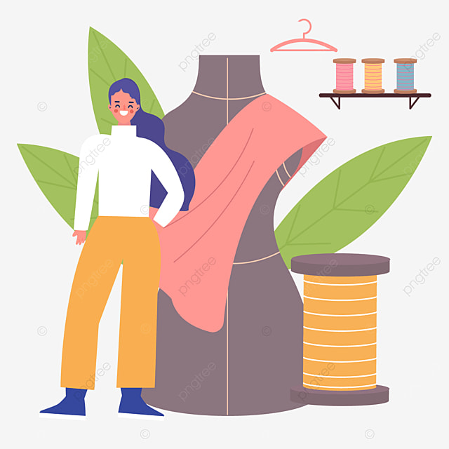 abstract human stand and spool decoration drawing fashion designer illustration