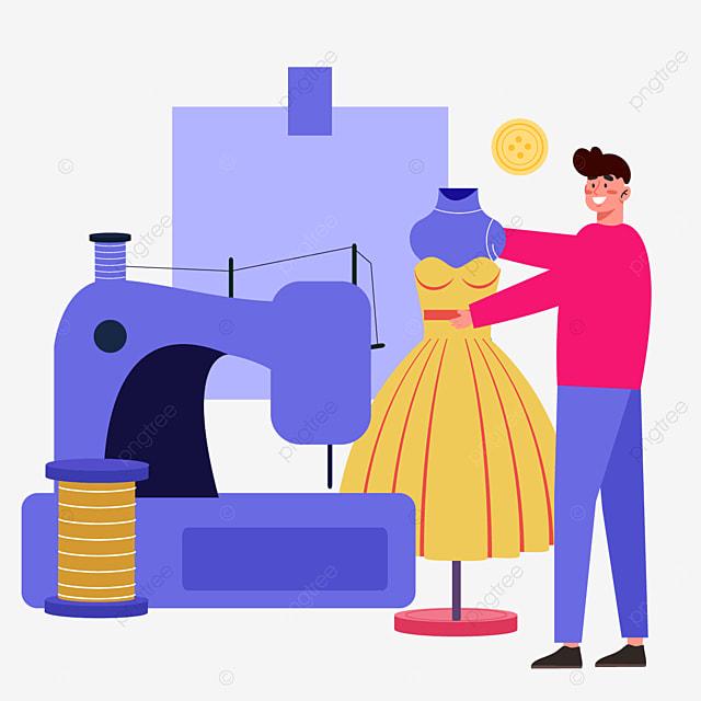 abstract purple sewing machine drawing fashion designer illustration