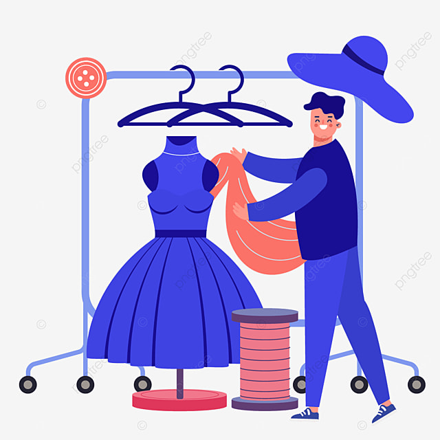 blue fashion high end drawing fashion designer illustration