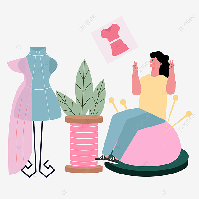 fashion designer illustration drawn by blue people and plants