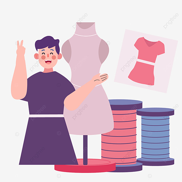 fashion designer illustration drawn by pink man stand and spool